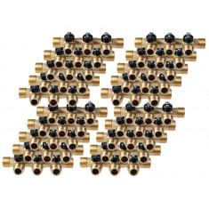 """Lot de 20 Collecteurs mini-vanne M/F 3/4"""" (20/27) - 1/2"""" (15/21) - 3 piquages M 1/2"""" (15/21)"""