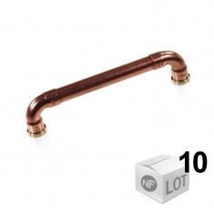 """Lot de 10 poignées de meuble cuivre """"Industriel"""" - Entraxe 128 cm Ø12 - Arcanaute"""