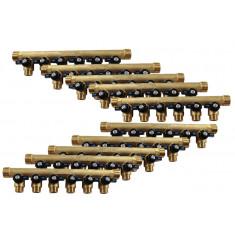 """Lot de 10 Collecteurs mini-vanne M/F 3/4"""" (20/27) - 1/2"""" (15/21) - 6 piquages M 1/2"""" (15/21)"""