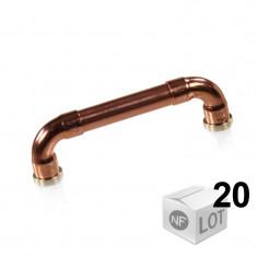 """Lot de 20 Poignées de meuble cuivre """"Industriel"""" - Entraxe 96mm Ø12 - Arcanaute"""