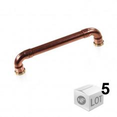 """Lot de 5 poignées de meuble cuivre """"Industriel"""" - Entraxe 128 cm Ø12 - Arcanaute"""