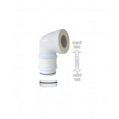 Pipe WC coudée extensible Ø 93 et Ø 100mm, avec bague pour le montage - Regisplast