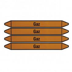 """Plaque de 4 autocollants jaunes """"Gaz"""" pour tuyauterie"""