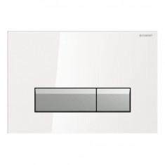Plaque de déclenchement SIGMA 40 DuoFresh - Verre Blanc/aluminium brossé