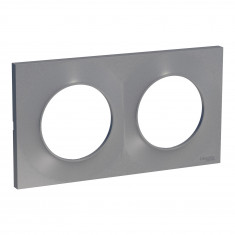 Plaque de finition ODACE Styl 2 postes - Aluminium - S520704E