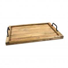 Plateau en bois de palette - Ombre naturelle - 50 x 35 x 3 cm