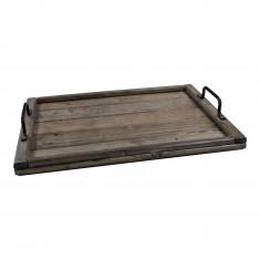 Plateau en bois de palette - Teinte noire - 50 x 35 x 3 cm