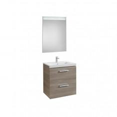 Pack Unik PRISMA 600 - Meuble 2 tiroirs, lavabo et miroir à LED