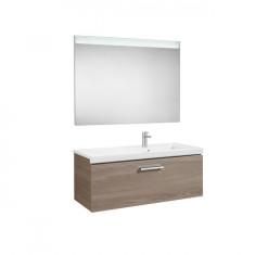Pack Unik PRISMA 900 - Meuble 1 tiroir, lavabo à gauche ou droite et miroir à LED