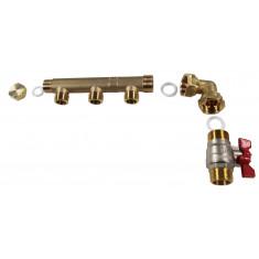 "Pack collecteur distribution sanitaire/chauffage M 3/4"" (20/27) - F 1/2"" (15/21) - 3 Sorties Verticales Mâles 1/2"" (15/21) - 1 Sortie Horizontale 1/2"" (15/21) - Arcanaute"