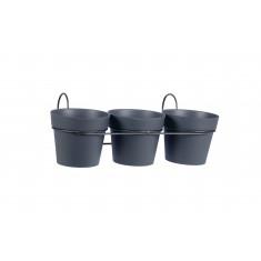 Lot de 3 pots TOSCANE - Gris anthracite