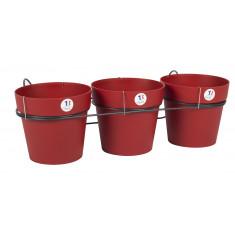 Lot de 3 pots TOSCANE - Rouge rubis