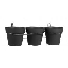 Lot de 3 pots TOSCANE avec support  - Gris anthracite