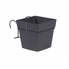 Pot carré TOSCANE 3,4L avec support - Gris anthracite