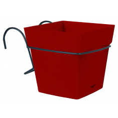 Pot carré TOSCANE 3,4L avec support - Rouge rubis
