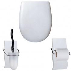 """Pack accessoires WC Set OLFA """"Argent métallisé"""" en descente manuelle"""