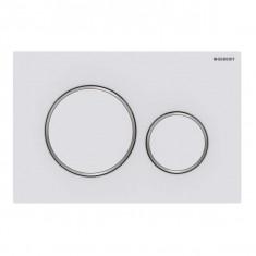 Plaque de déclenchement blanc mat laqué et chromé brillant Sigma20 pour rinçage double touche - Geberit