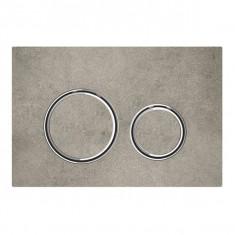 Plaque de déclenchement blanc mat, aspect béton Sigma21 pour rinçage double touche chromé - Geberit