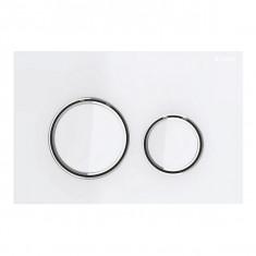Plaque de déclenchement blanc mat, blanches Sigma21 pour rinçage double touche chromé - Geberit