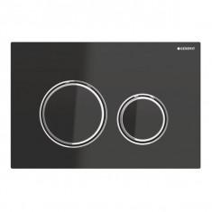 Plaque de déclenchement blanc mat, noires Sigma21 pour rinçage double touche chromé - Geberit