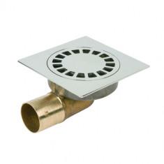 Siphon de sol laiton Solusec 120x120 mm - sortie horizontale Ø40