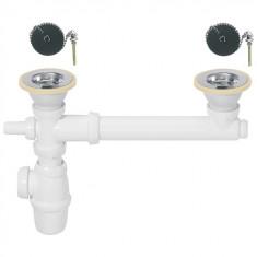 Siphon réglable et bondes à bouchon Ø60 pour évier 2 bacs - Wirquin Pro 30720440