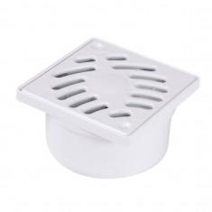 Siphonnette avec grille PVC blanc 100x100mm - sortie verticale Ø40/50mm