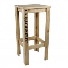 Tabouret haut en bois de palette 35 x 35 x 72 cm