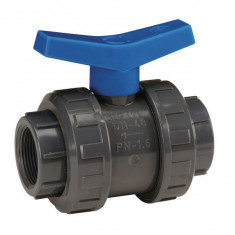 Vanne à sphère PVC-U PN16 pour piscine - à visser - Manette bleue