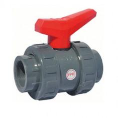 Vanne à sphère PVC-U PN16 pour industrie - à visser F/F - Manette rouge