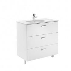 Meuble Unik VICTORIA Family 800 - 3 tiroirs + lavabo - Blanc brillant