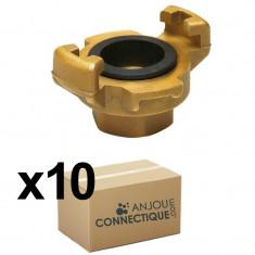 "10 Raccords express laiton à visser Femelle 3/4"" (20/27) avec joint NBR"