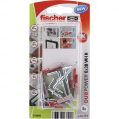 6 Chevilles tous matériaux fischer DUOPOWER Ø6x30 WH - Fischer