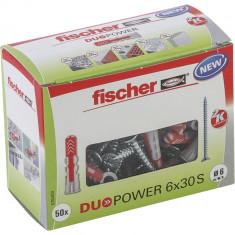 50 Chevilles bi-matière DUOPOWER Ø6 x 30 S avec vis, boîte à fenêtre - Fischer