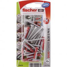 12 Chevilles tous matériaux fischer DUOPOWER Ø6x30 S PH - Fischer