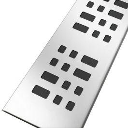 Grille inox 304 motifs carrés pour caniveau KSICAN90