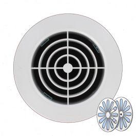 Grille d'aération ronde avec fermeture 128mm à encastrer sur tube PVC 100mm