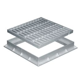 Grille de sol PVC renforcée avec cadre anti-choc 400x400mm 70KN - Gris