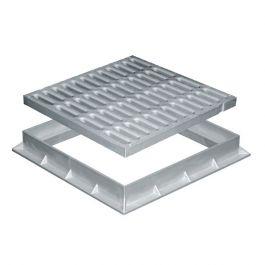Grille de sol PVC renforcée avec cadre anti-choc 450x450mm 37KN - Gris