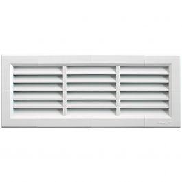 Grille ventilation PVC traditionnelle à encastrer 340x140mm + moustiquaire