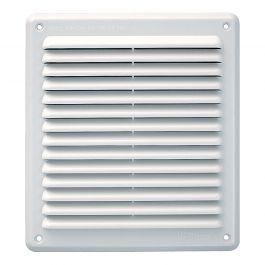 Grille ventilation rectangulaire PVC anti-pluie 204x230mm - Blanc - à fermeture et moustiquaire