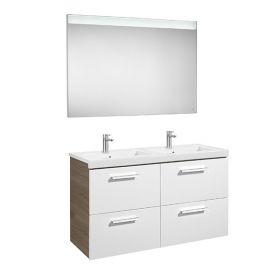 Pack Unik PRISMA 1200 meuble 4 tiroirs miroir LED - Blanc / Frêne - Roca