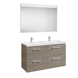 Pack Unik PRISMA 1200 meuble 4 tiroirs miroir LED - Frêne - Roca