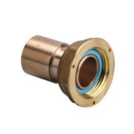 Raccord 2 pièces compteur gaz à braser sur cuivre - écrou 6/20 - cuivre Ø22
