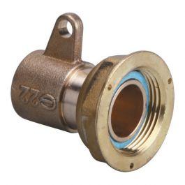 Raccord 2 pièces compteur gaz à braser sur cuivre - écrou 6/20 - cuivre Ø22 + fixation