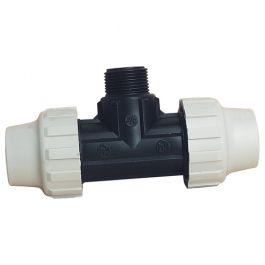 Té 90° polypropylène pour Tube PE ou PEHD - Mâle 1