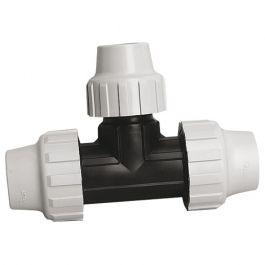 Té 90° polypropylène ACS pour Tube PE ou PEHD réduit au centre Ø25-Ø20-Ø25
