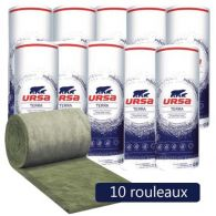 10 rouleaux laine de verre URSA MNU 40 TERRA nu - Ep. 200mm - 48m² - R 5