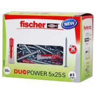50 Chevilles bi-matière DUOPOWER Ø5 x 25 S + 50 vis 3,5x30mm - Fischer