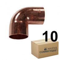 Lot de 10 coudes cuivre à souder FF 90°petit rayon Ø14